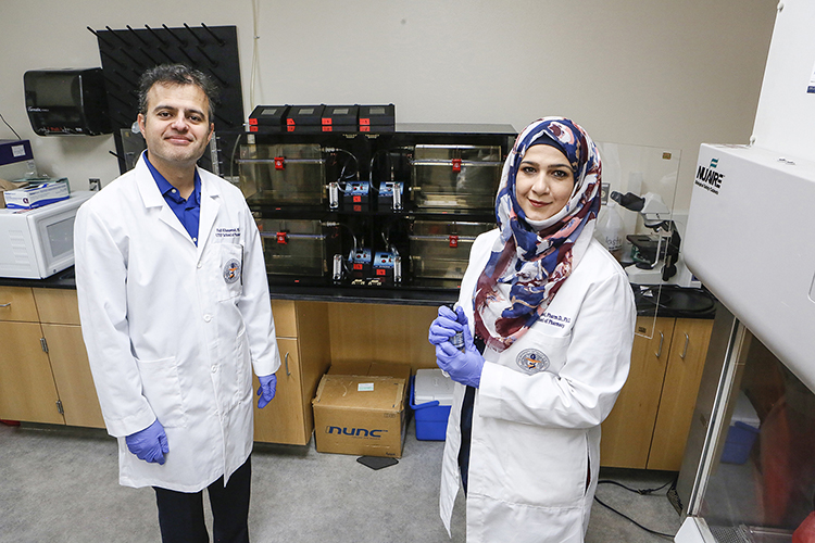Fadi Khasawneh, B.Pharm., Ph.D, and Fatima Z. Alshbool, Pharm.D., Ph.D., are married researchers in UTEP's School of Pharmacy who specialize in thirdhand smoke and vaping. Photo: J.R. Hernandez/UTEP Communications.