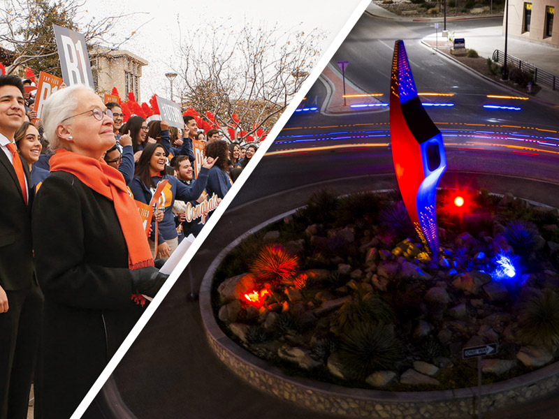 The University of Texas at El Paso will illuminate the 'Mining Minds' pickaxe sculpture at the campus' Sun Bowl-University Roundabout in blue and orange each evening from Monday through Wednesday, Aug. 12-14, 2019, to celebrate the 31-year leadership tenure of UTEP President Diana Natalicio.