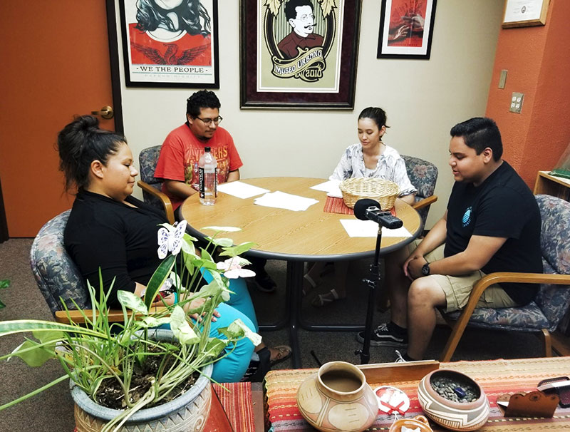 Larisa Veloz, Ph.D., assistant professor of History at The University of Texas at El Paso, from left, is interviewed by UTEP students Solomon Contreras, Siera Tanabe and Jonathan Hinojos in fall 2019 as part of an Institute of Oral History podcast. Photo: Courtesy