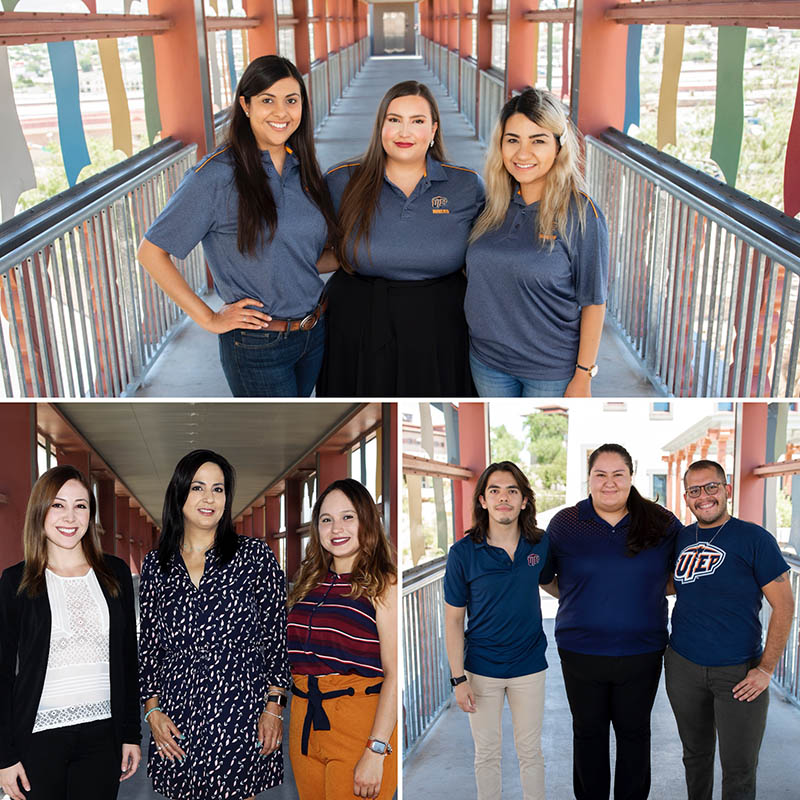 The teams are, clockwise from top: UTEP MPH students Diana Flores (left), Maribel Dominguez and Perla Michelle Martinez; UTEP MPH students Tyler Beltran (left), Andrea Pérez and Gilberto Pérez; UTEP MPH students Brianda Sarmiento (left), Elizabeth Alvarado Navarro and Alejandra Martinez. Photos by Ivan Pierre Aguirre / UTEP Communications