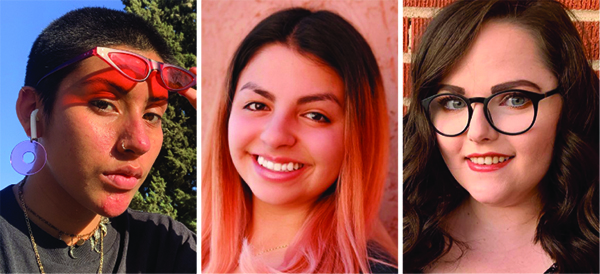 UTEP students Kalina Gallardo, from left, Isabelle Rivera and Sarah Curtis won their competitions at the recent regional Kennedy Center American College Theatre Festival and will participate in the virtual finals in mid-April 2021. Courtesy photos from the UTEP Department of Theatre and Dance