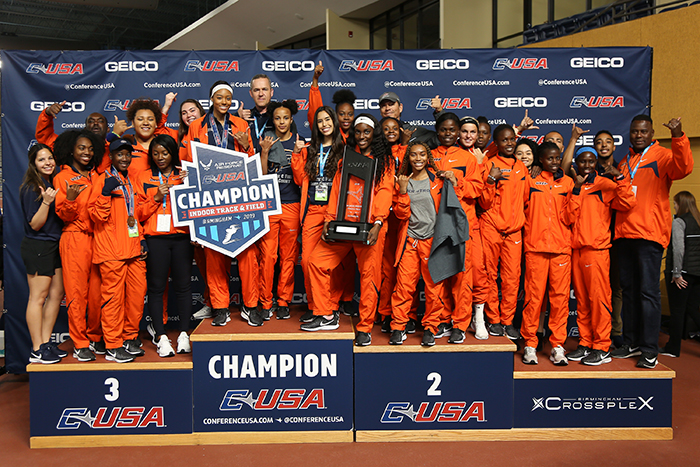 The 'Mining Minds' pickaxe sculpture at UTEP's University Avenue roundabout will be illuminated in orange and blue Friday evening, Feb. 22, 2019, to celebrate the UTEP women's track and field team, which claimed the 2019 Conference USA Indoor Track and Field Championship on Sunday, Feb. 17, in Birmingham, Alabama.